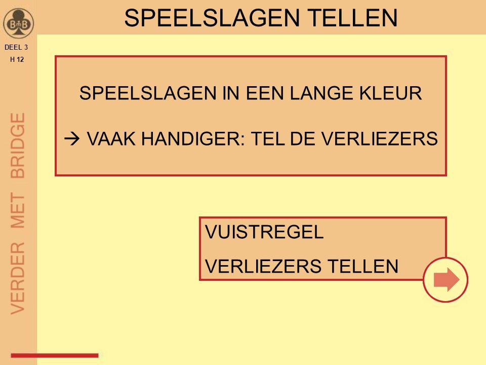 SPEELSLAGEN IN EEN LANGE KLEUR  VAAK HANDIGER: TEL DE VERLIEZERS SPEELSLAGEN TELLEN VUISTREGEL VERLIEZERS TELLEN DEEL 3 H 12