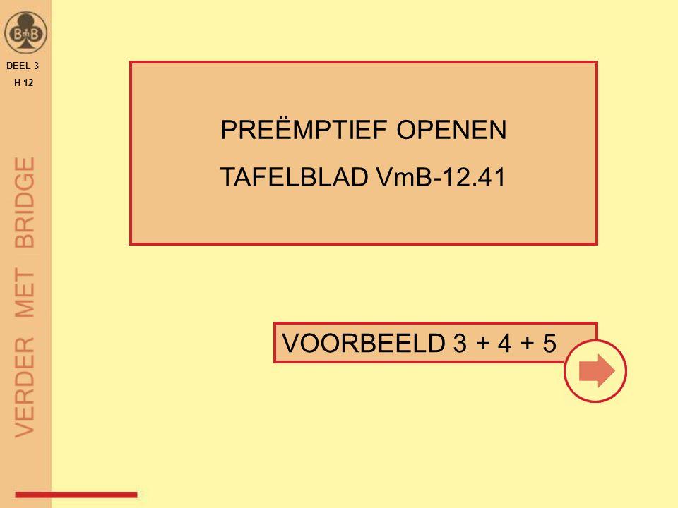 VOORBEELD 3 + 4 + 5 PREËMPTIEF OPENEN TAFELBLAD VmB-12.41 DEEL 3 H 12