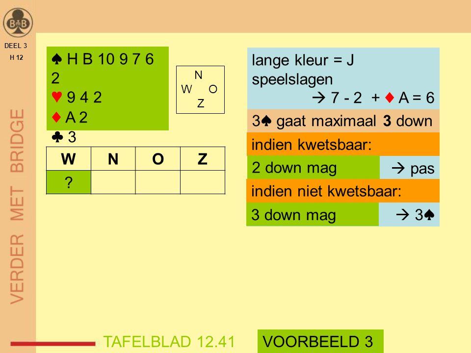 N W O Z DEEL 3 H 12 TAFELBLAD 12.41 3♠ gaat maximaal 3 down indien kwetsbaar: VOORBEELD 3  pas indien niet kwetsbaar:  3♠  3♠ 2 down mag 3 down mag