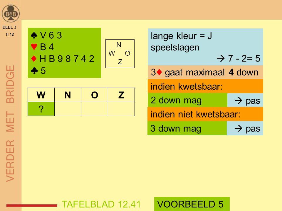 N W O Z DEEL 3 H 12 TAFELBLAD 12.41 3♦ gaat maximaal 4 down indien kwetsbaar: VOORBEELD 5  pas indien niet kwetsbaar:  pas 2 down mag 3 down mag WNO