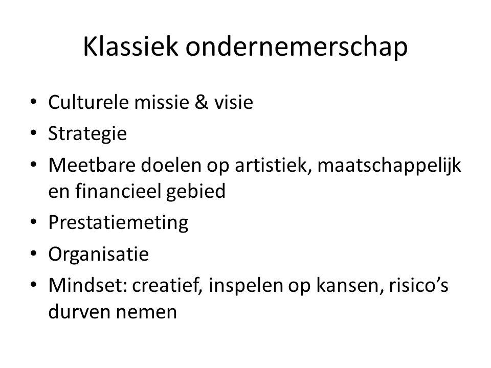 Klassiek ondernemerschap Culturele missie & visie Strategie Meetbare doelen op artistiek, maatschappelijk en financieel gebied Prestatiemeting Organis