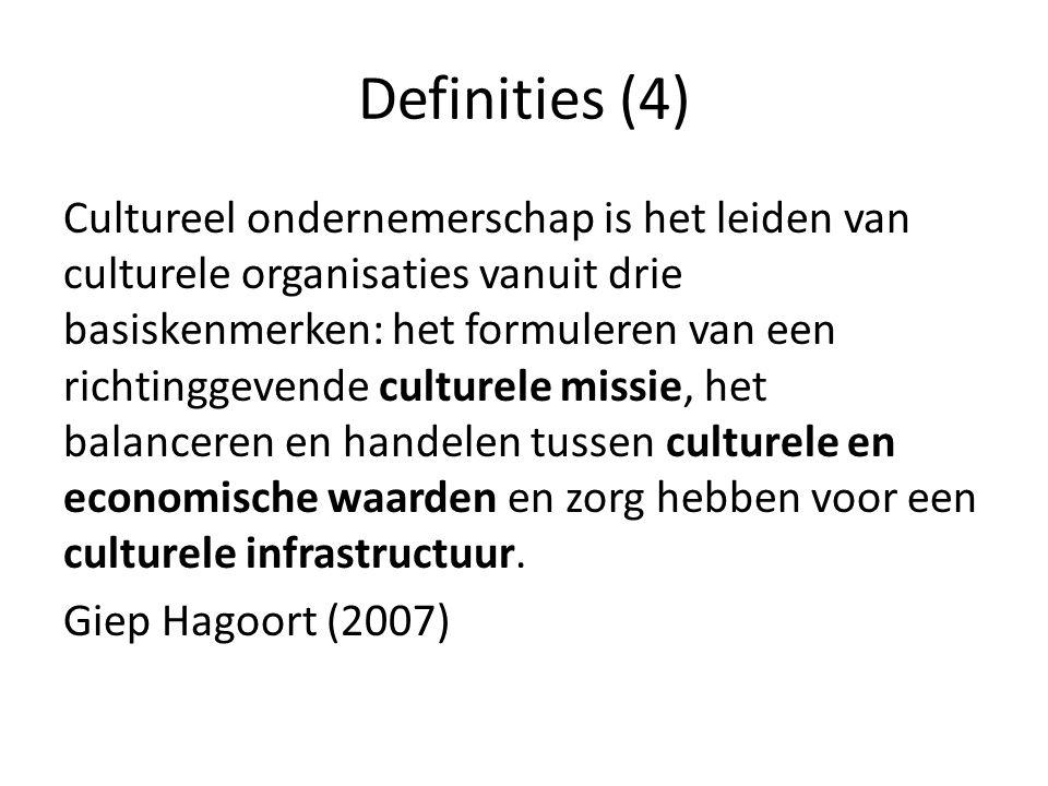 Definities (5) 'Met cultureel ondernemen wordt het streven en handelen aangeduid van organisaties, ondernemingen en individuen die zich inzetten voor het realiseren van doelstellingen op het gebied van kunst en cultuur, op een financieel duurzame wijze.