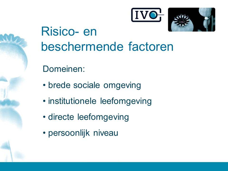 Risico- en beschermende factoren Domeinen: brede sociale omgeving institutionele leefomgeving directe leefomgeving persoonlijk niveau