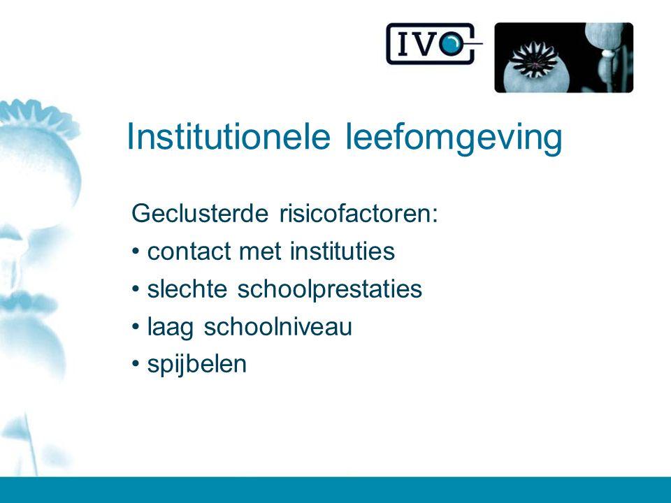 Institutionele leefomgeving Geclusterde risicofactoren: contact met instituties slechte schoolprestaties laag schoolniveau spijbelen