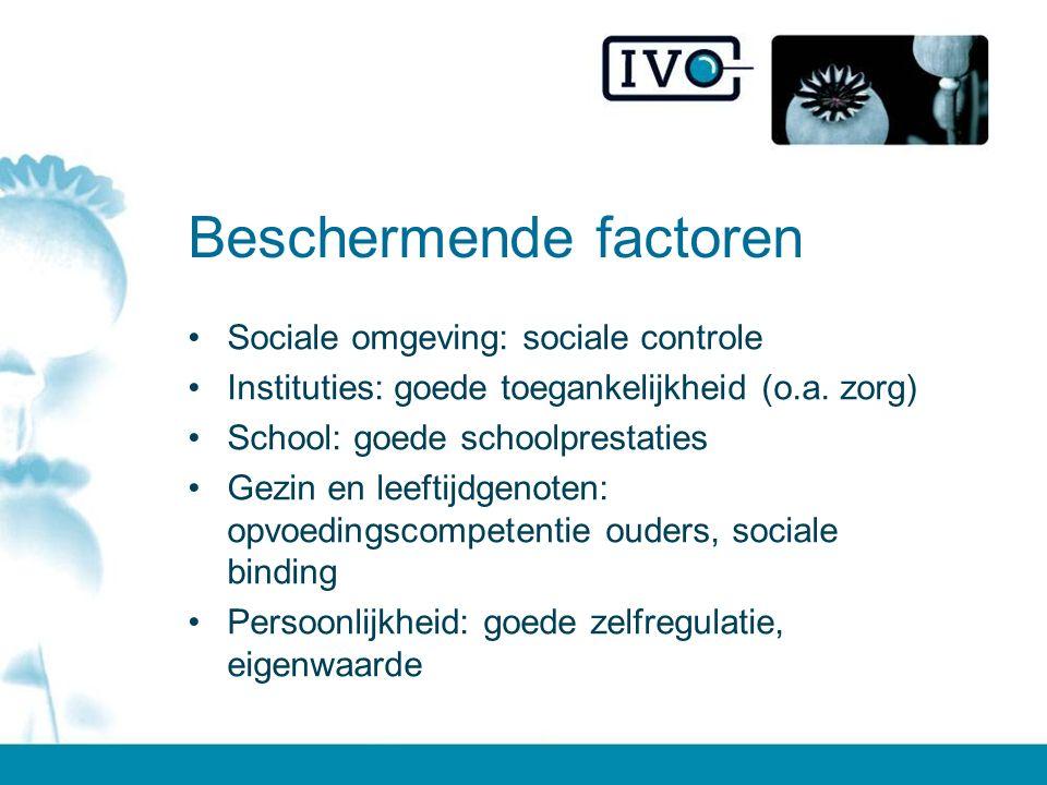 Beschermende factoren Sociale omgeving: sociale controle Instituties: goede toegankelijkheid (o.a. zorg) School: goede schoolprestaties Gezin en leeft