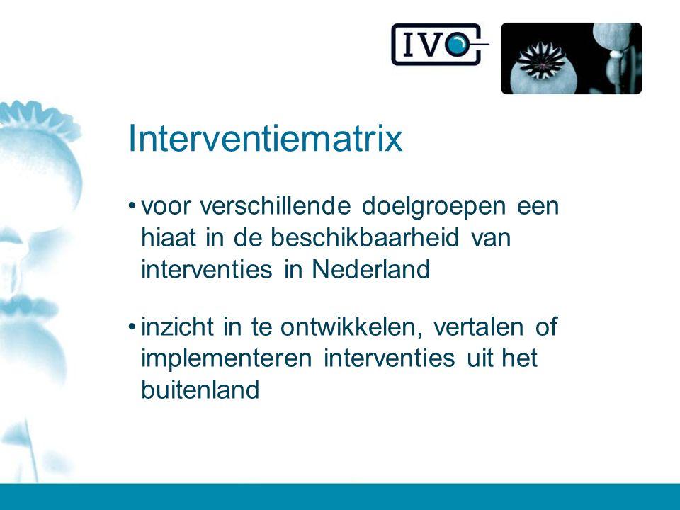 Interventiematrix voor verschillende doelgroepen een hiaat in de beschikbaarheid van interventies in Nederland inzicht in te ontwikkelen, vertalen of implementeren interventies uit het buitenland