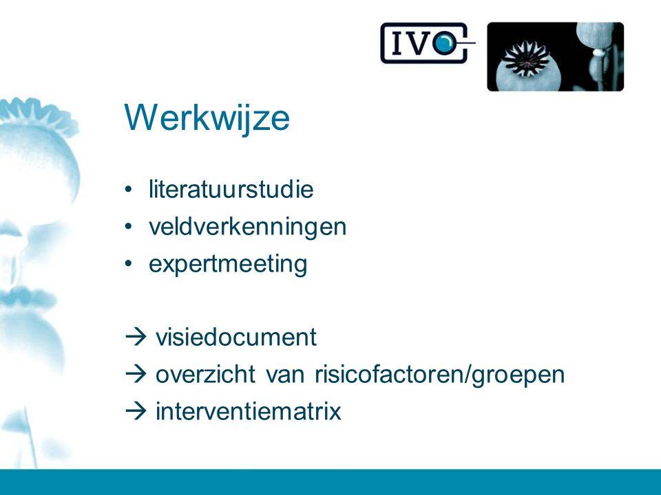 Werkwijze literatuurstudie veldverkenningen expertmeeting  visiedocument  overzicht van risicofactoren/groepen  interventiematrix