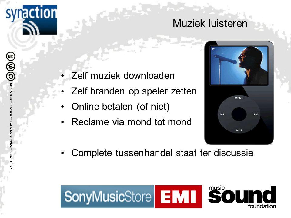 Muziek luisteren Zelf muziek downloaden Zelf branden op speler zetten Online betalen (of niet) Reclame via mond tot mond Complete tussenhandel staat ter discussie
