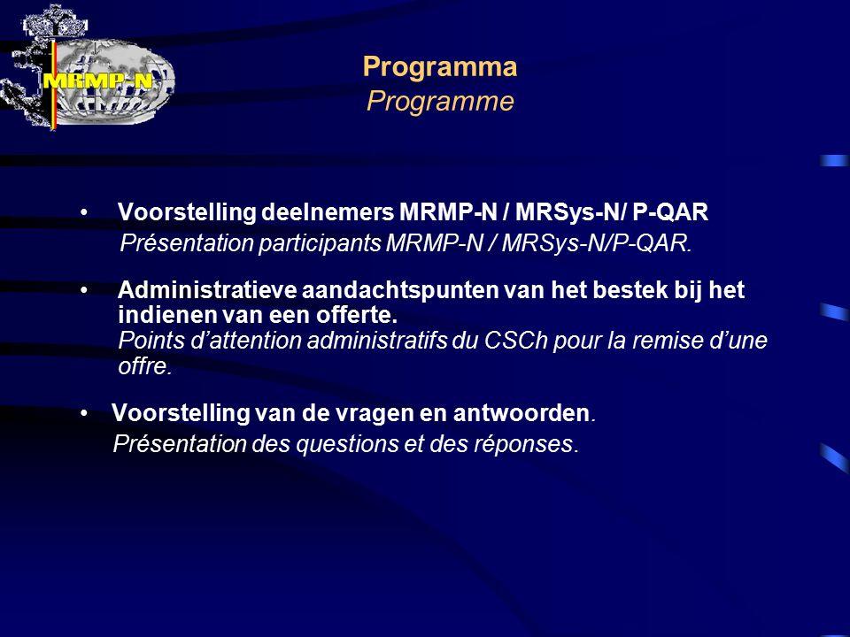 Programma Programme Voorstelling deelnemers MRMP-N / MRSys-N/ P-QAR Présentation participants MRMP-N / MRSys-N/P-QAR. Administratieve aandachtspunten