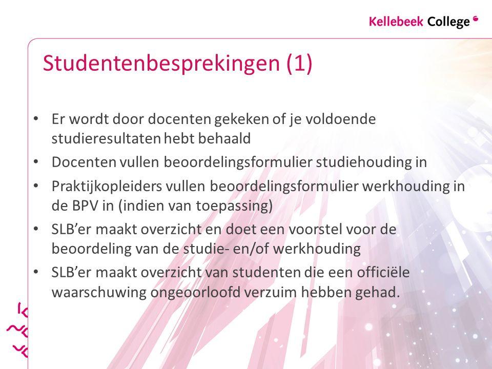 Studentenbesprekingen (1) Er wordt door docenten gekeken of je voldoende studieresultaten hebt behaald Docenten vullen beoordelingsformulier studiehou
