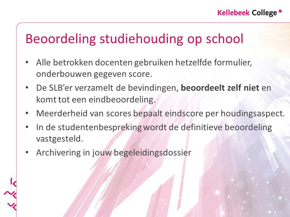 Beoordeling studiehouding op school Alle betrokken docenten gebruiken hetzelfde formulier, onderbouwen gegeven score. De SLB'er verzamelt de bevinding