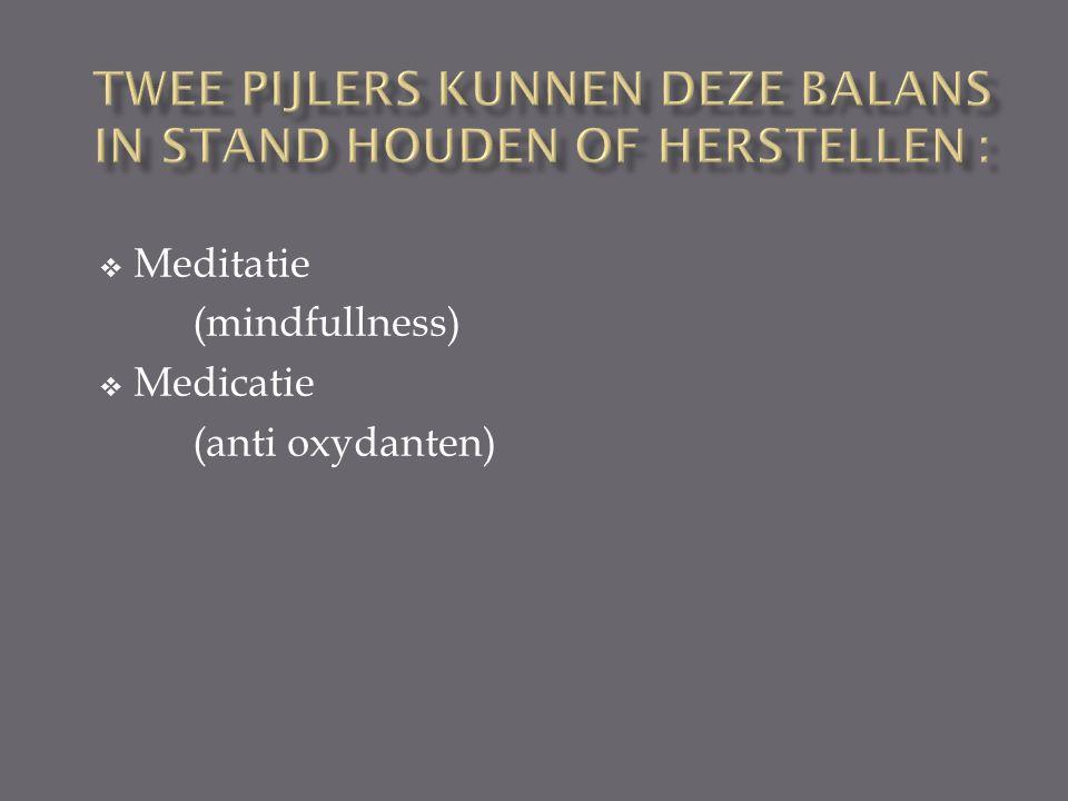 Meditatie (mindfullness)  Medicatie (anti oxydanten)