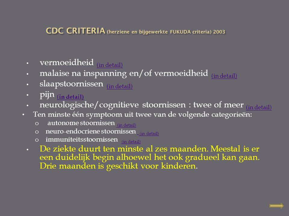 vermoeidheid (in detail) (in detail) malaise na inspanning en/of vermoeidheid (in detail) (in detail) slaapstoornissen (in detail) (in detail) pijn (