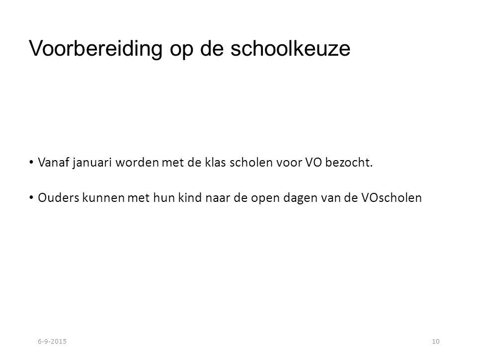 Voorbereiding op de schoolkeuze Vanaf januari worden met de klas scholen voor VO bezocht.