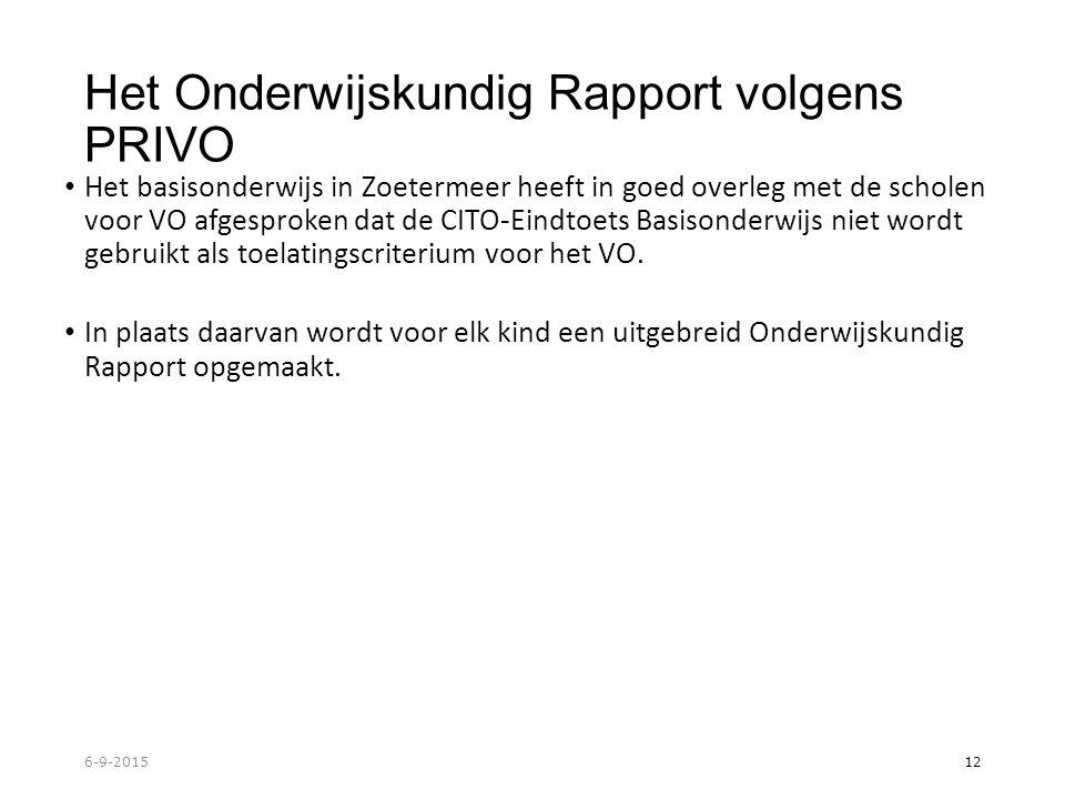 Het Onderwijskundig Rapport volgens PRIVO Het basisonderwijs in Zoetermeer heeft in goed overleg met de scholen voor VO afgesproken dat de CITO-Eindtoets Basisonderwijs niet wordt gebruikt als toelatingscriterium voor het VO.