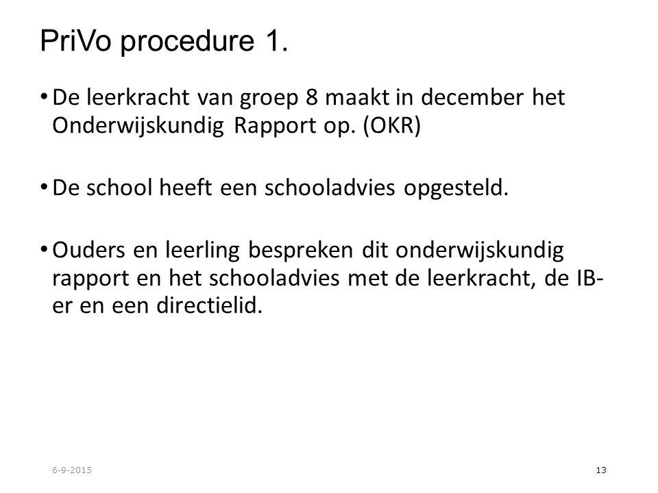 PriVo procedure 1. De leerkracht van groep 8 maakt in december het Onderwijskundig Rapport op.