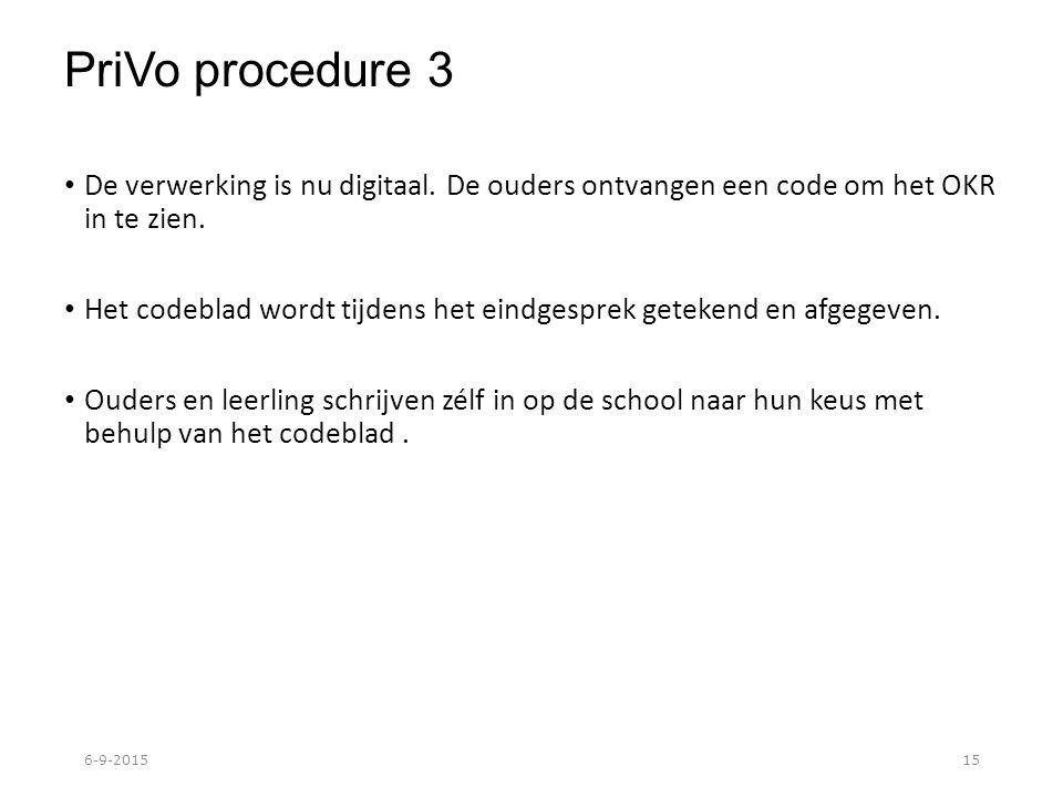 PriVo procedure 3 De verwerking is nu digitaal. De ouders ontvangen een code om het OKR in te zien.