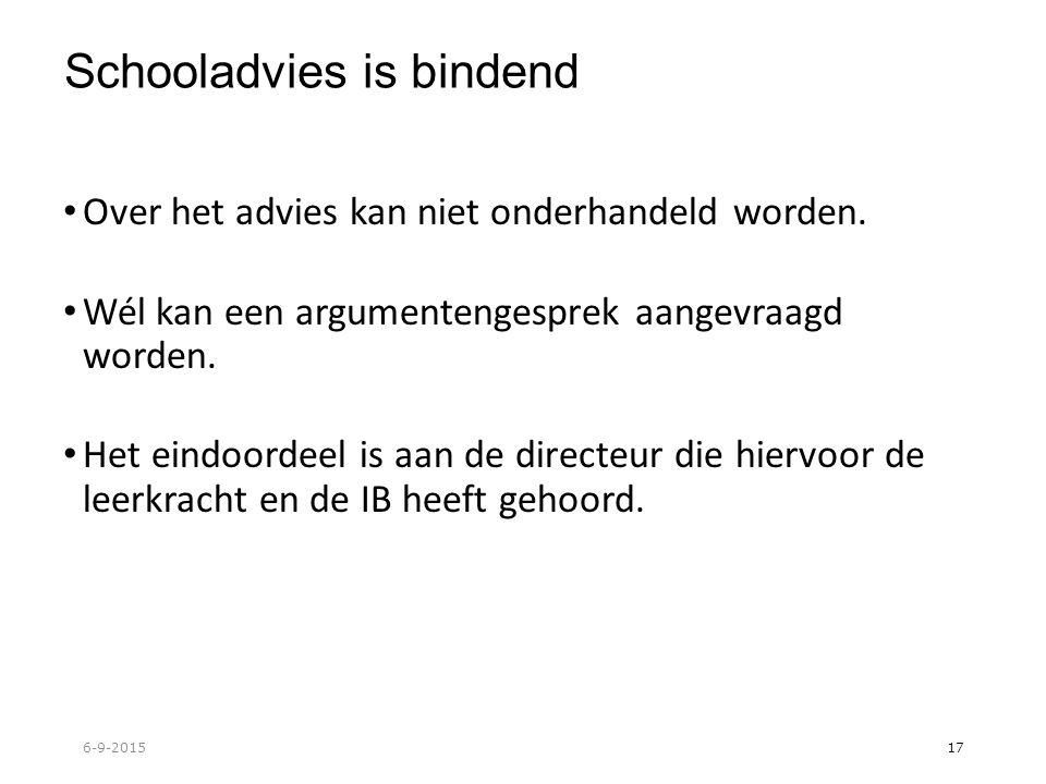 Schooladvies is bindend Over het advies kan niet onderhandeld worden.