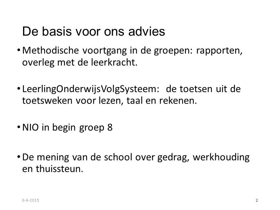 De basis voor ons advies Methodische voortgang in de groepen: rapporten, overleg met de leerkracht.