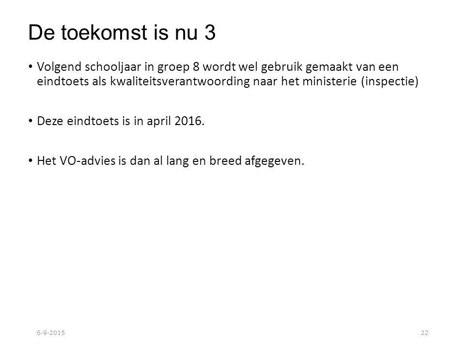 De toekomst is nu 3 Volgend schooljaar in groep 8 wordt wel gebruik gemaakt van een eindtoets als kwaliteitsverantwoording naar het ministerie (inspectie) Deze eindtoets is in april 2016.