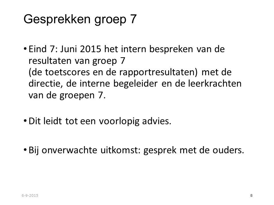 Gesprekken groep 7 Eind 7: Juni 2015 het intern bespreken van de resultaten van groep 7 (de toetscores en de rapportresultaten) met de directie, de interne begeleider en de leerkrachten van de groepen 7.