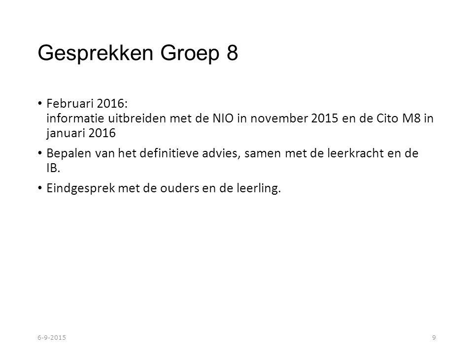 Gesprekken Groep 8 Februari 2016: informatie uitbreiden met de NIO in november 2015 en de Cito M8 in januari 2016 Bepalen van het definitieve advies, samen met de leerkracht en de IB.