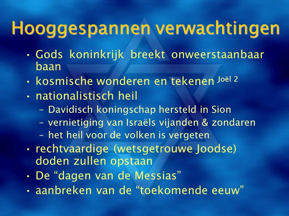 Hooggespannen verwachtingen Gods koninkrijk breekt onweerstaanbaar baan kosmische wonderen en tekenen Joël 2 nationalistisch heil –Davidisch koningsch