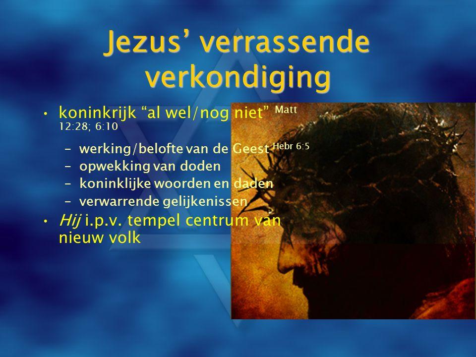 """Jezus' verrassende verkondiging koninkrijk """"al wel/nog niet"""" Matt 12:28; 6:10 –werking/belofte van de Geest Hebr 6:5 –opwekking van doden –koninklijke"""