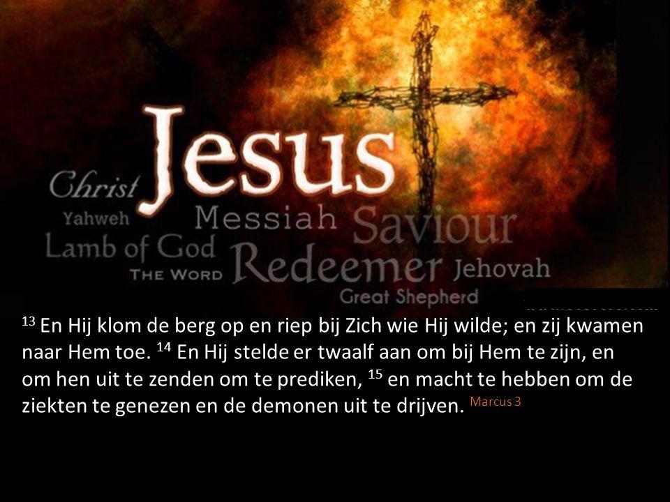 13 En Hij klom de berg op en riep bij Zich wie Hij wilde; en zij kwamen naar Hem toe. 14 En Hij stelde er twaalf aan om bij Hem te zijn, en om hen uit