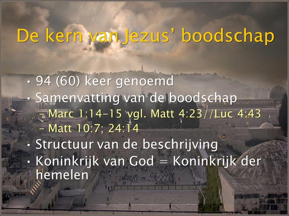 Koninkrijk al wel en nog niet toekomende eeuw is aangebroken, maar de volheid komt nog Rom 8:18; Efez 1:21; 1 Kor 2:6v Jezus' opstanding is de eersteling van de grote oogst 1 Kor 15:20v Geest onderpand van nieuwe schepping Rom 8:11, 15v, 23; 2 Kor 1:22; 5:5; Efez 1:13-14