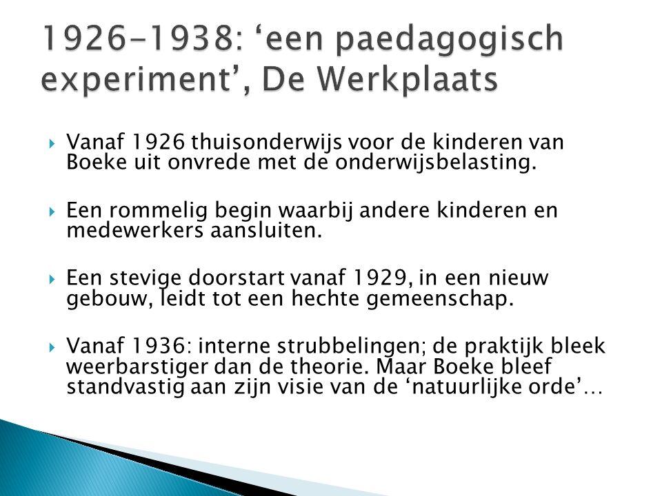  Vanaf 1926 thuisonderwijs voor de kinderen van Boeke uit onvrede met de onderwijsbelasting.  Een rommelig begin waarbij andere kinderen en medewerk