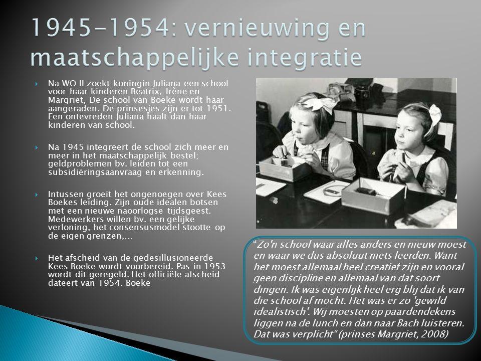  Na WO II zoekt koningin Juliana een school voor haar kinderen Beatrix, Irène en Margriet, De school van Boeke wordt haar aangeraden. De prinsesjes z