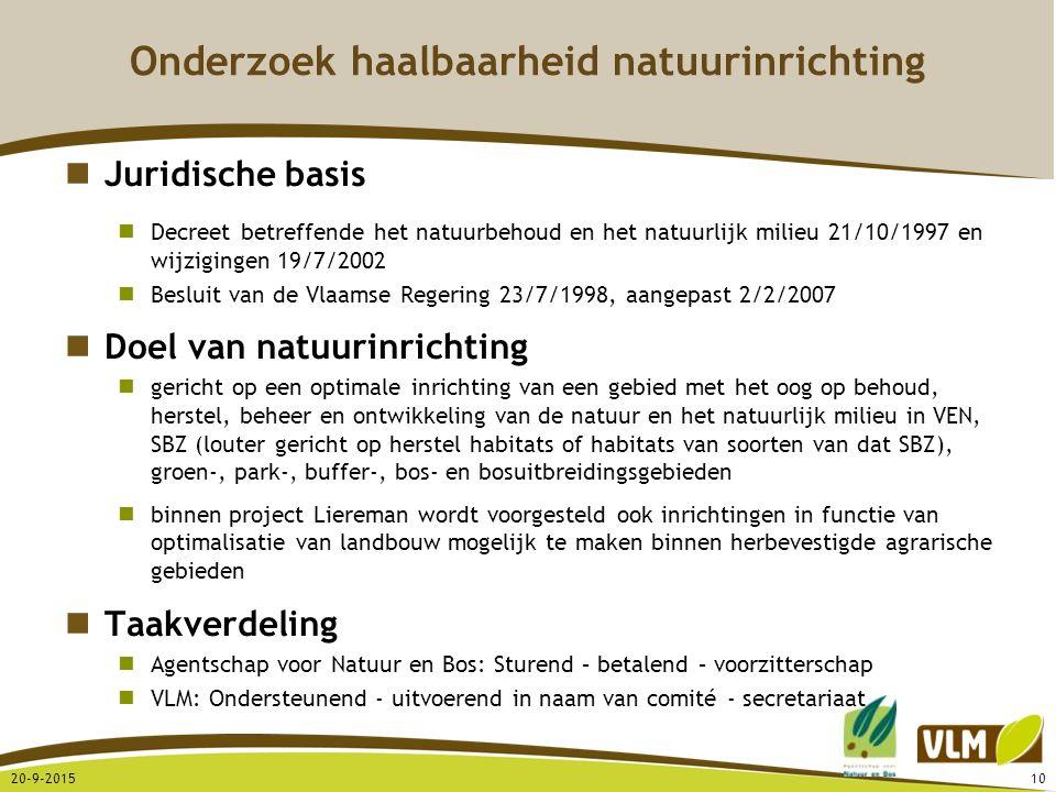 20-9-201510 Onderzoek haalbaarheid natuurinrichting Juridische basis Decreet betreffende het natuurbehoud en het natuurlijk milieu 21/10/1997 en wijzi