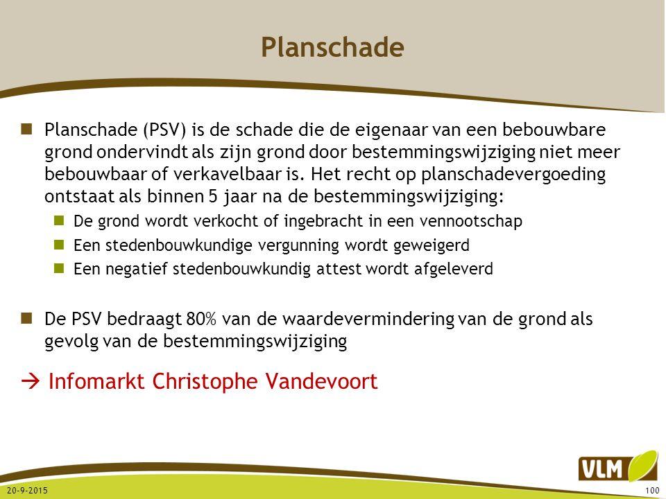 Planschade Planschade (PSV) is de schade die de eigenaar van een bebouwbare grond ondervindt als zijn grond door bestemmingswijziging niet meer bebouw