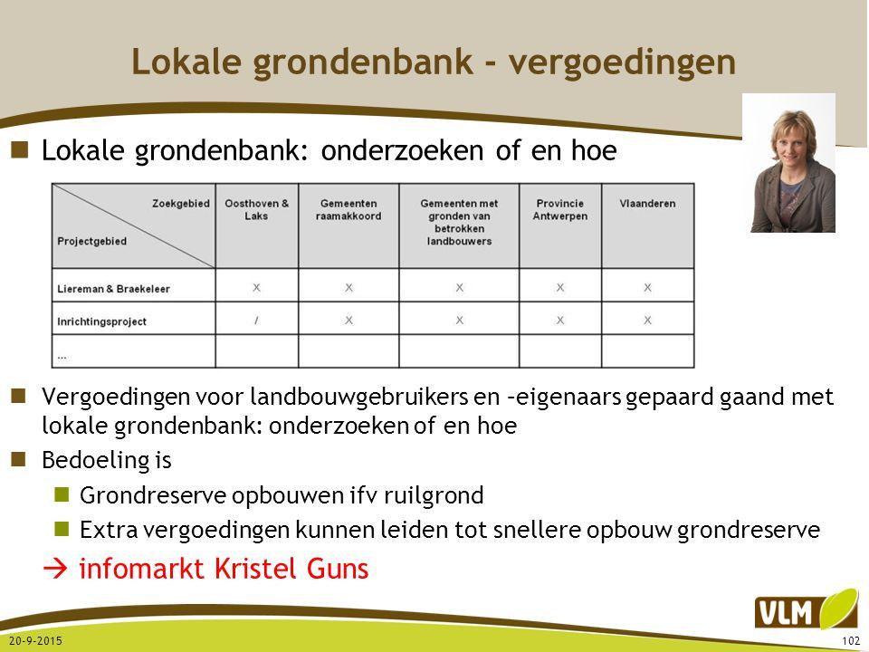 Lokale grondenbank - vergoedingen Lokale grondenbank: onderzoeken of en hoe Vergoedingen voor landbouwgebruikers en –eigenaars gepaard gaand met lokal