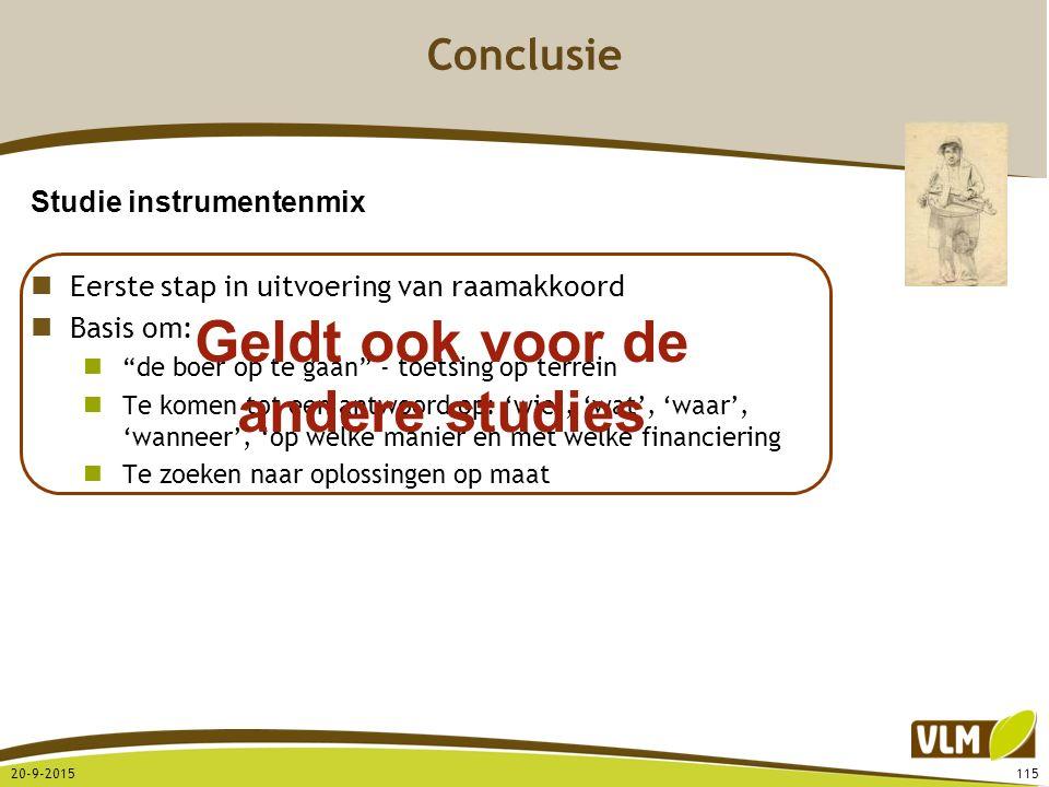 "20-9-2015115 Conclusie Studie instrumentenmix Eerste stap in uitvoering van raamakkoord Basis om: ""de boer op te gaan"" - toetsing op terrein Te komen"
