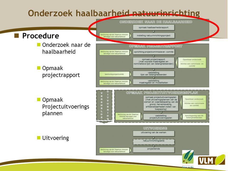 Procedure Onderzoek naar de haalbaarheid Opmaak projectrapport Opmaak Projectuitvoerings plannen Uitvoering