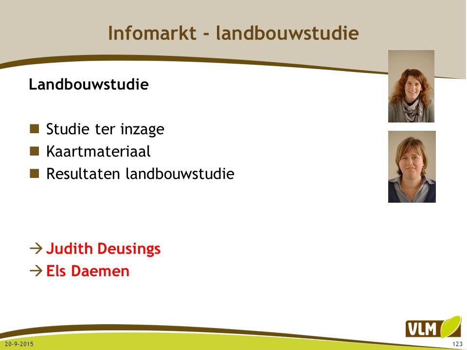 Infomarkt - landbouwstudie Landbouwstudie Studie ter inzage Kaartmateriaal Resultaten landbouwstudie  Judith Deusings  Els Daemen 20-9-2015123