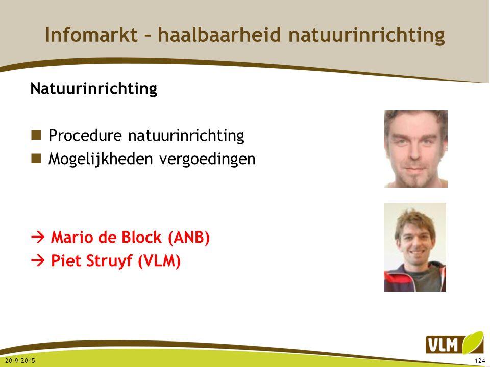 Infomarkt – haalbaarheid natuurinrichting Natuurinrichting Procedure natuurinrichting Mogelijkheden vergoedingen  Mario de Block (ANB)  Piet Struyf