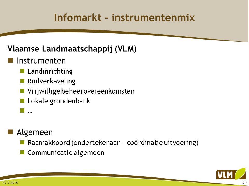 Infomarkt - instrumentenmix Vlaamse Landmaatschappij (VLM) Instrumenten Landinrichting Ruilverkaveling Vrijwillige beheerovereenkomsten Lokale gronden