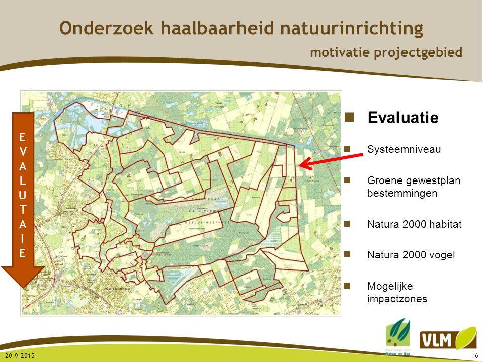 20-9-201516 EVALUTAIEEVALUTAIE Evaluatie Systeemniveau Groene gewestplan bestemmingen Natura 2000 habitat Natura 2000 vogel Mogelijke impactzones Onde