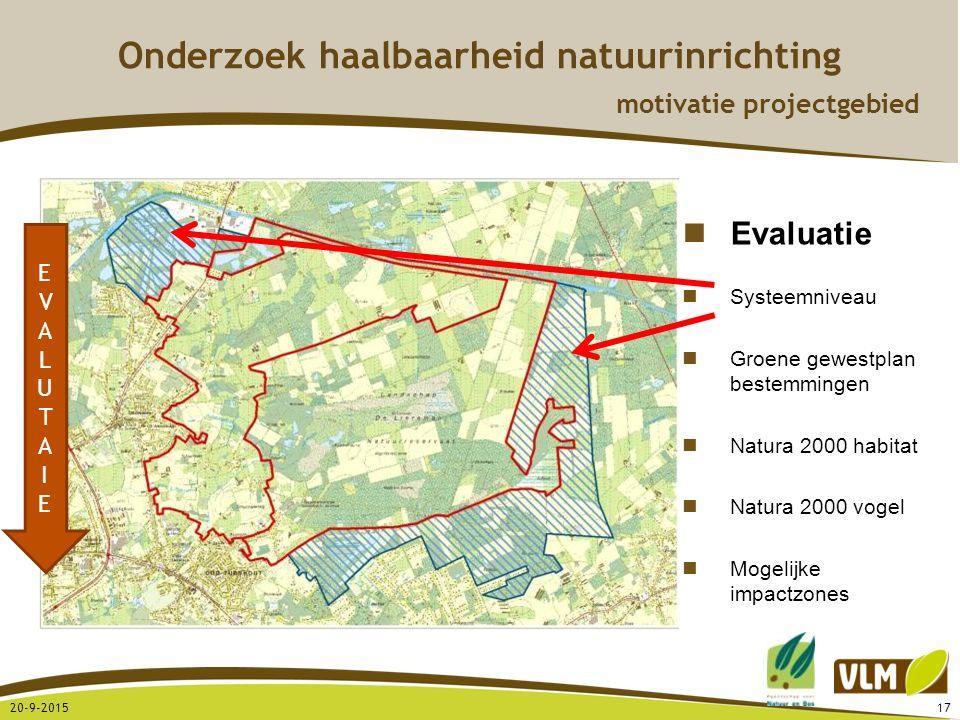 20-9-201517 Onderzoek haalbaarheid natuurinrichting motivatie projectgebied Evaluatie Systeemniveau Groene gewestplan bestemmingen Natura 2000 habitat