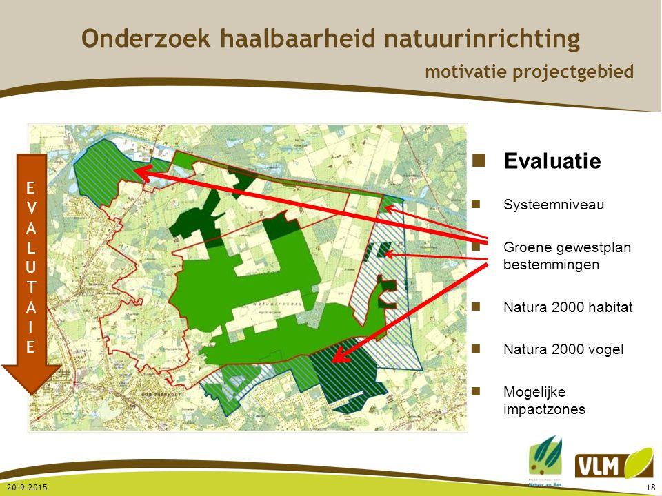 20-9-201518 EVALUTAIEEVALUTAIE Evaluatie Systeemniveau Groene gewestplan bestemmingen Natura 2000 habitat Natura 2000 vogel Mogelijke impactzones Onde