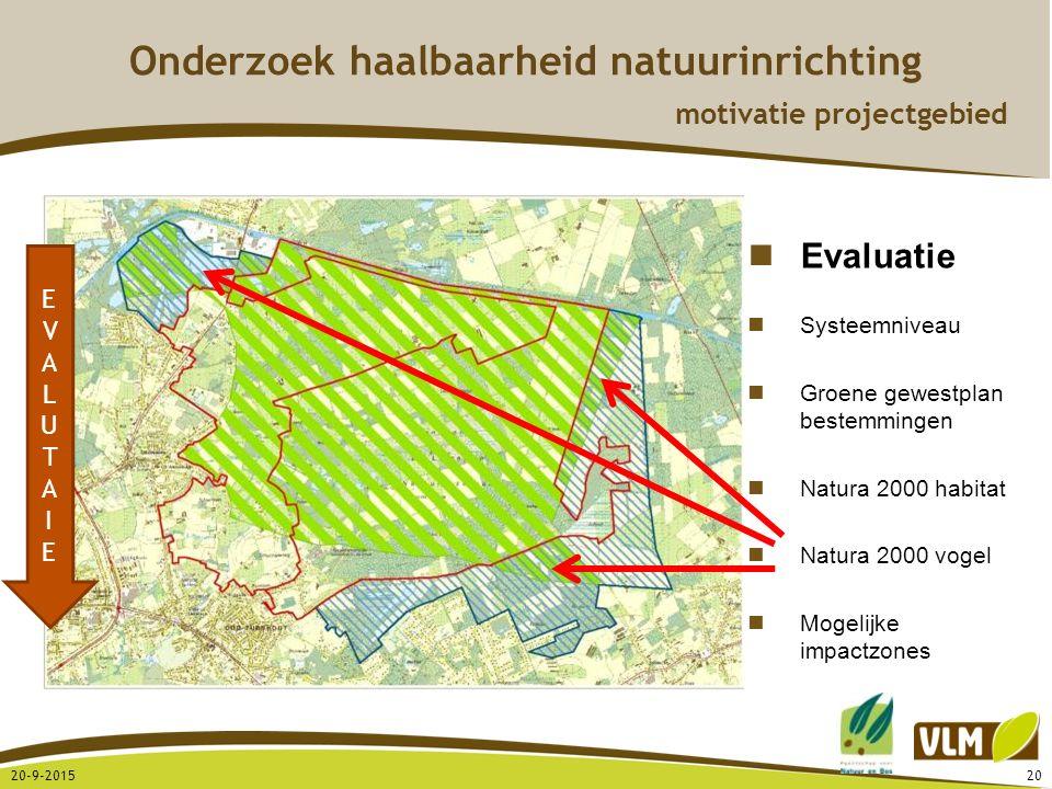 20-9-201520 EVALUTAIEEVALUTAIE Evaluatie Systeemniveau Groene gewestplan bestemmingen Natura 2000 habitat Natura 2000 vogel Mogelijke impactzones Onde
