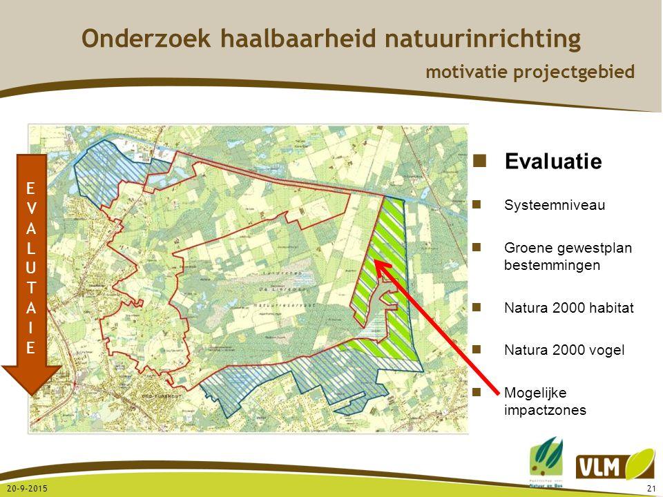 20-9-201521 EVALUTAIEEVALUTAIE Evaluatie Systeemniveau Groene gewestplan bestemmingen Natura 2000 habitat Natura 2000 vogel Mogelijke impactzones Onde