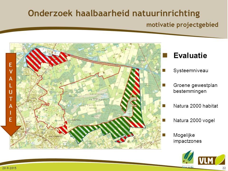 20-9-201522 EVALUTAIEEVALUTAIE Evaluatie Systeemniveau Groene gewestplan bestemmingen Natura 2000 habitat Natura 2000 vogel Mogelijke impactzones Onde
