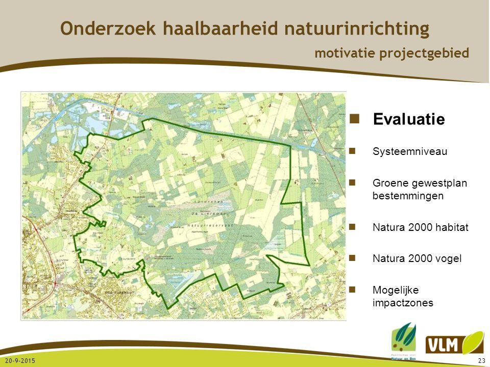 20-9-201523 Onderzoek haalbaarheid natuurinrichting motivatie projectgebied Evaluatie Systeemniveau Groene gewestplan bestemmingen Natura 2000 habitat