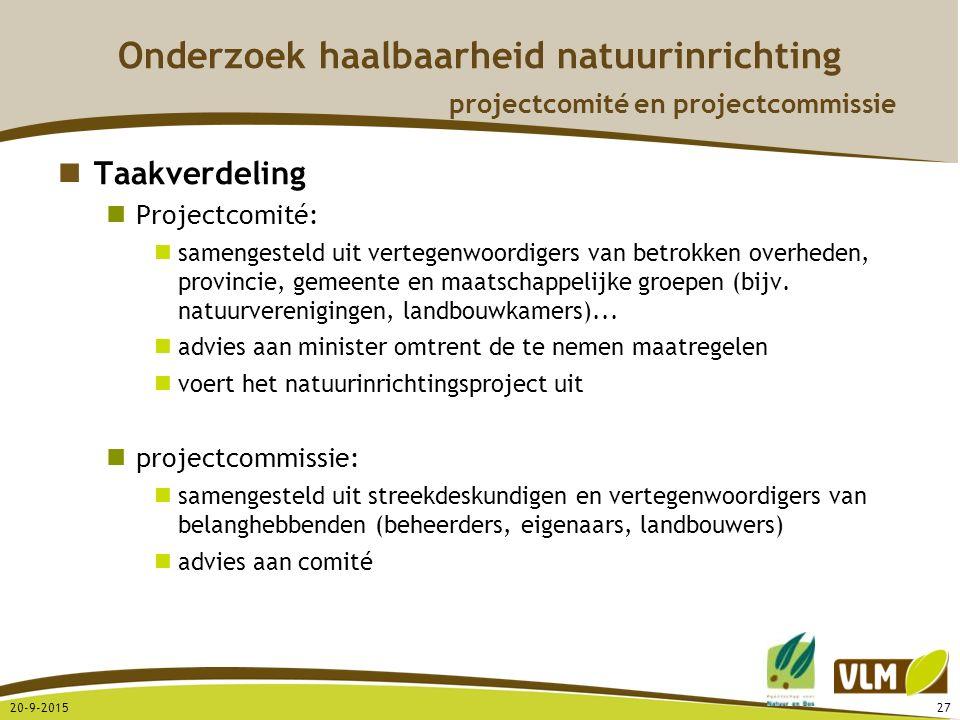 20-9-201527 Onderzoek haalbaarheid natuurinrichting projectcomité en projectcommissie Taakverdeling Projectcomité: samengesteld uit vertegenwoordigers