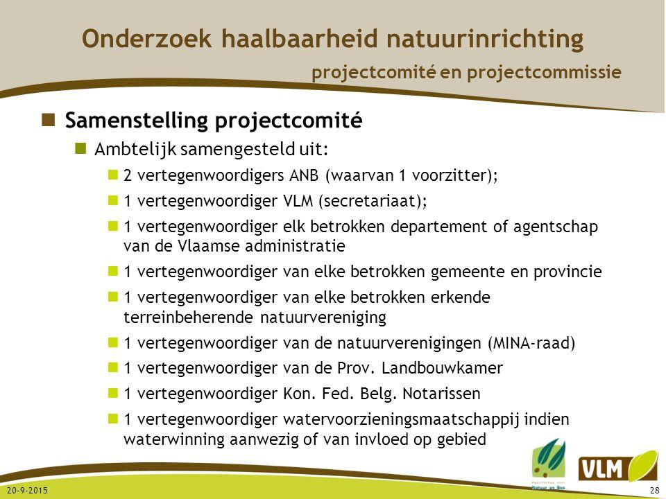 20-9-201528 Onderzoek haalbaarheid natuurinrichting projectcomité en projectcommissie Samenstelling projectcomité Ambtelijk samengesteld uit: 2 verteg