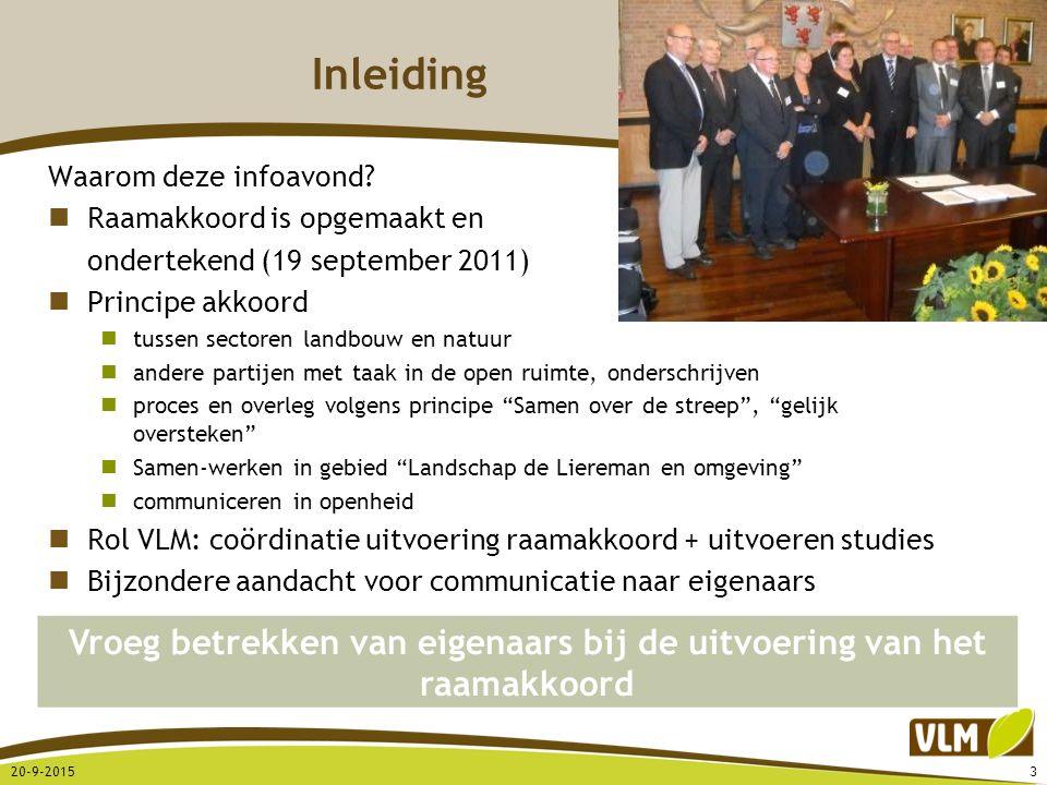 Inleiding Waarom deze infoavond? Raamakkoord is opgemaakt en ondertekend (19 september 2011) Principe akkoord tussen sectoren landbouw en natuur ander